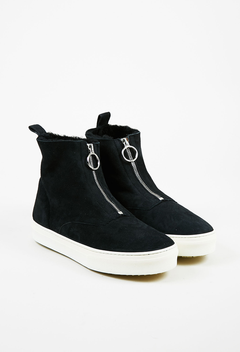 Black & White Suede & Shearling Zipped Ankle Boots