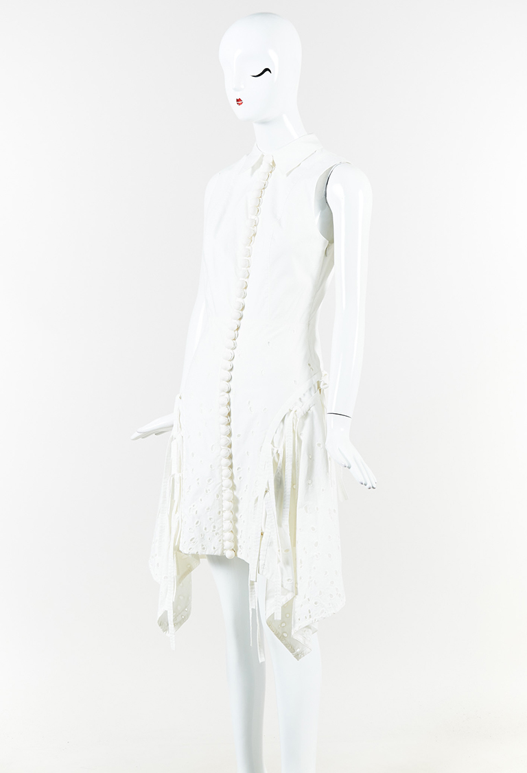 White Cotton Embroidered Multi Tie Flared Dress