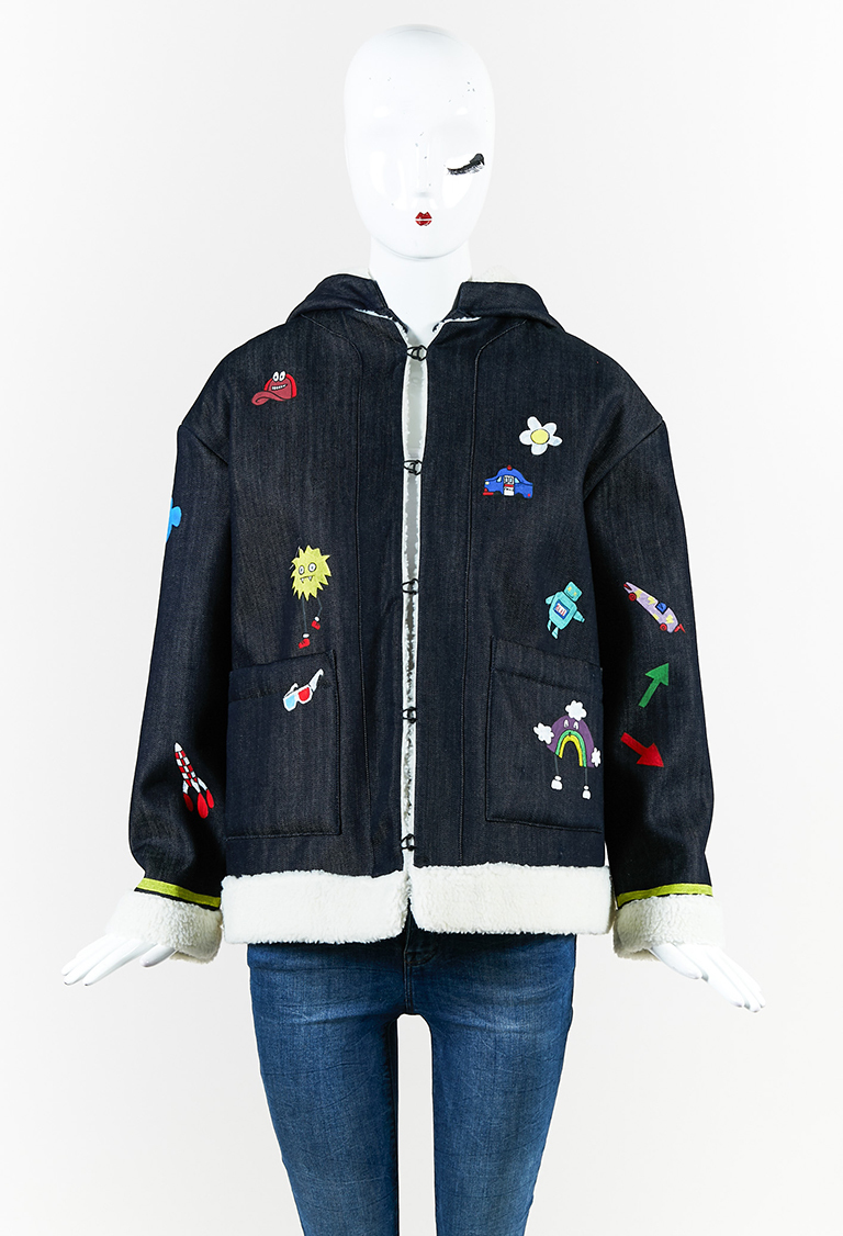 "Multicolor Denim Hand-Painted ""Play More"" Jacket"