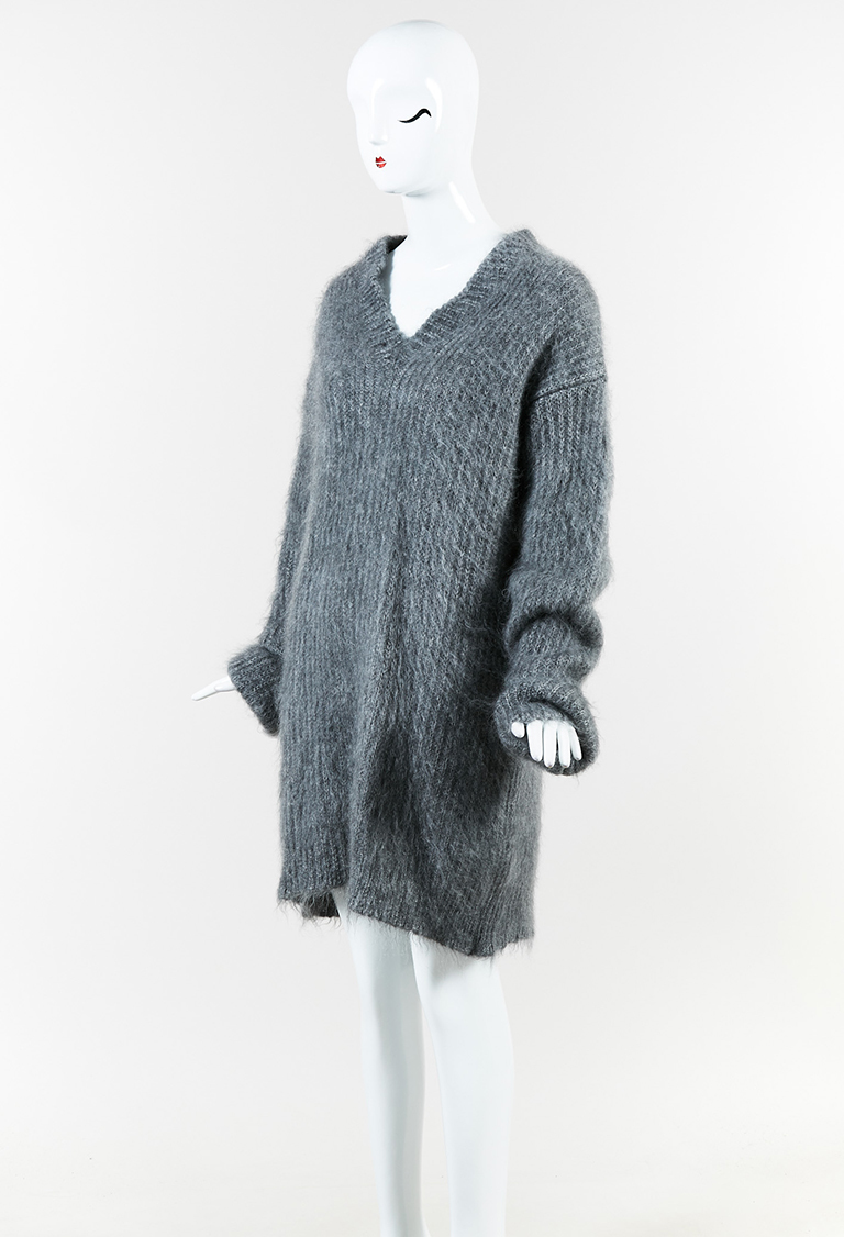 Gray Mohair & Silk Long Sleeve Sweater Dress