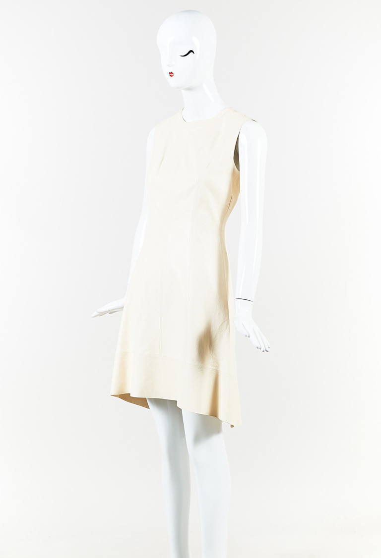 Cream Leather A Line High Low Dress