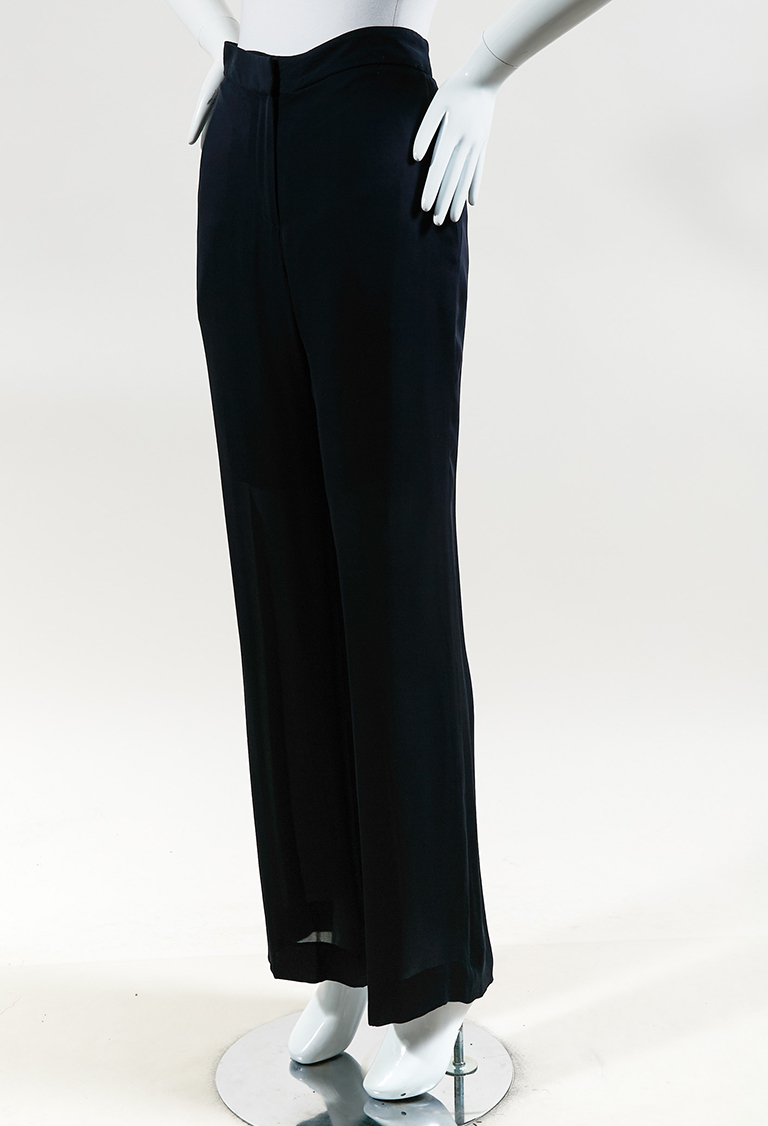Navy Blue Silk Wide Leg Pants