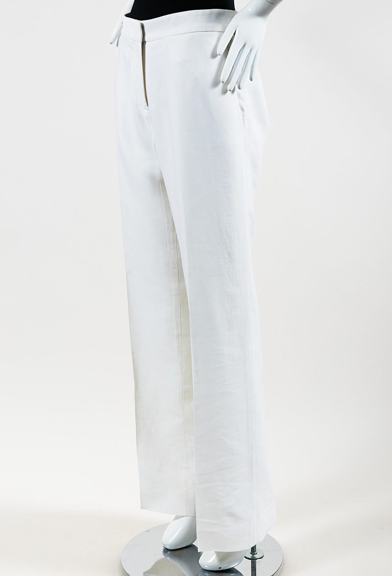 "Cream Cotton & Silk ""Stovepipe"" Wide Leg Pants"