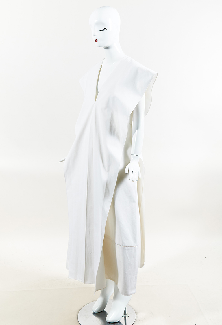 "White Cotton Split Overlay ""Mukan"" V Neck Maxi Dress"