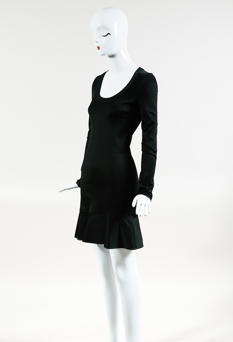 "Black Knit Long Sleeve ""Brianna"" Flounce Dress"