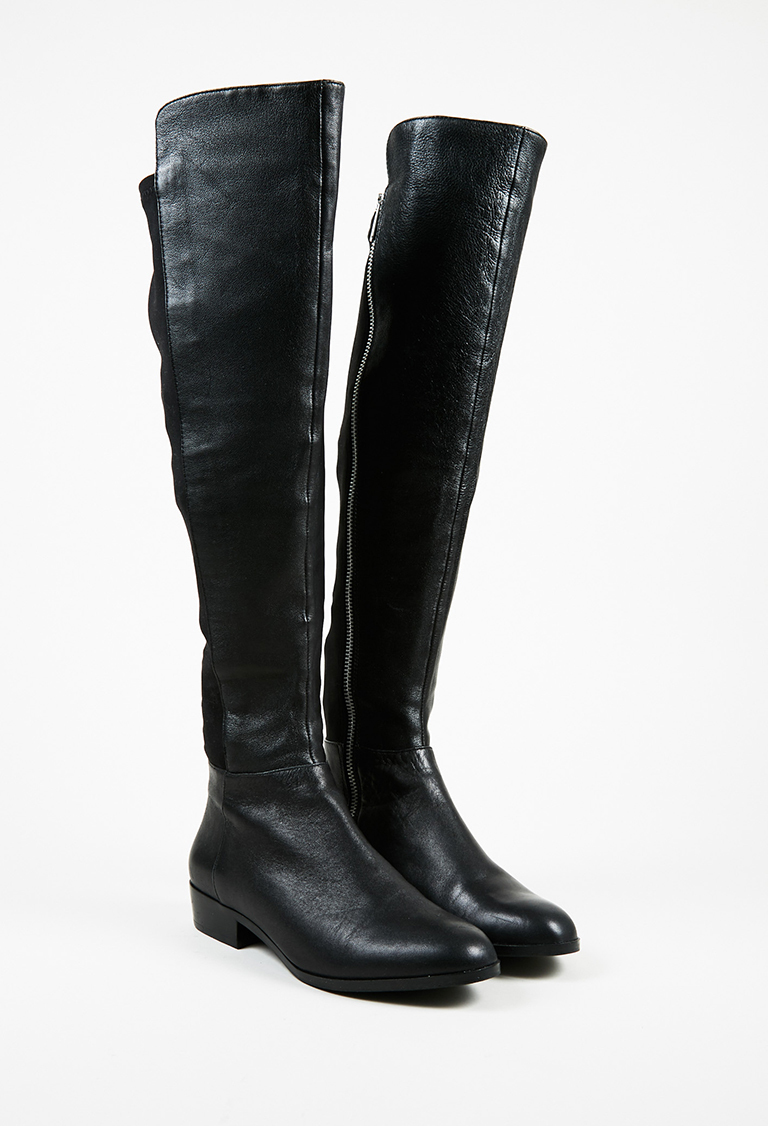 "MICHAEL  Black Leather & Elastic ""Bromley"" Over the Knee Boots"