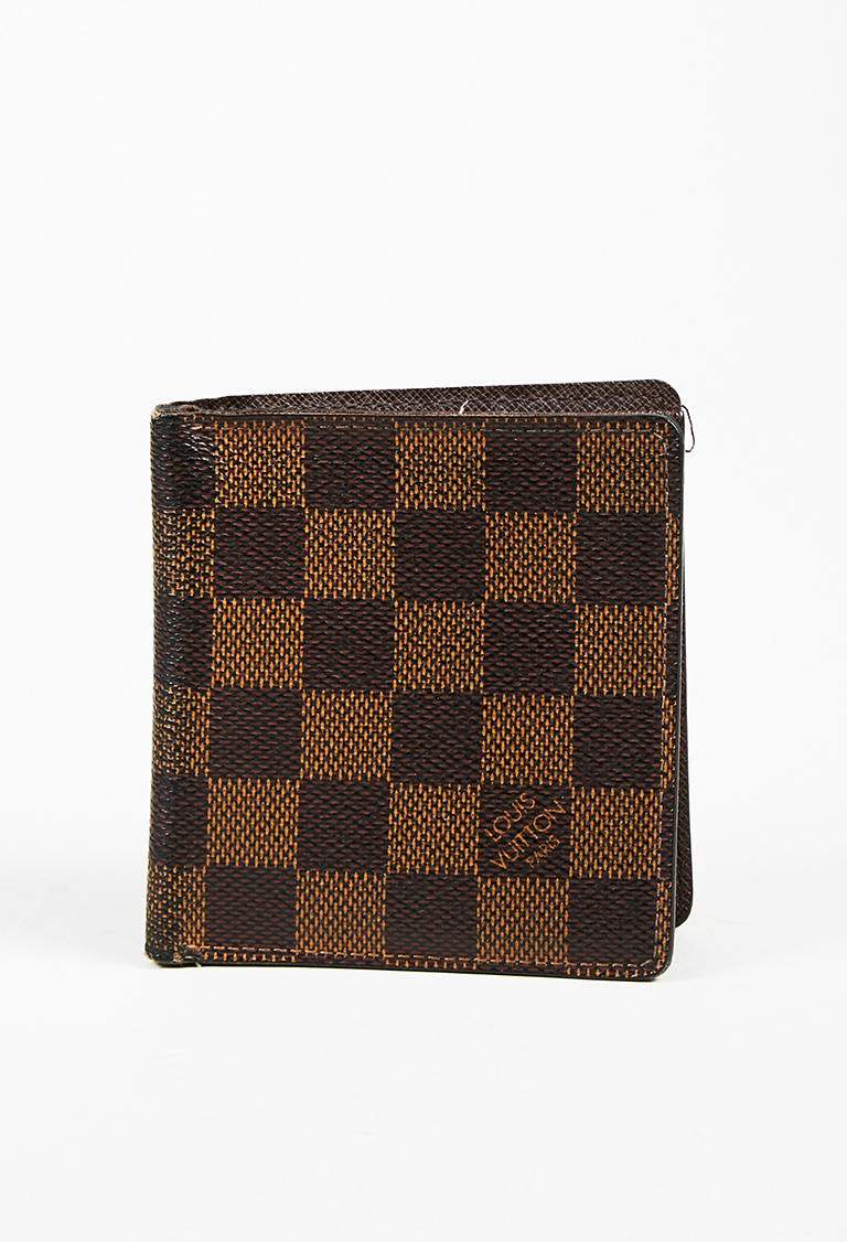"Brown Damier Canvas &  Leather ""Portes-Billet 6"" Compact Wallet"