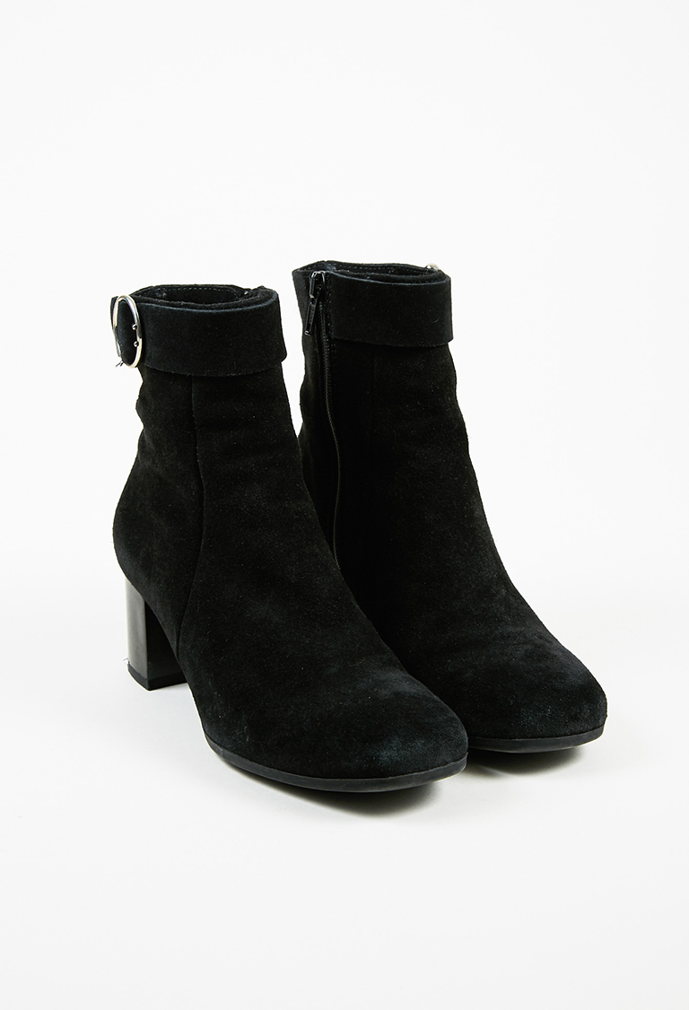"""Black Suede Buckled """"Joni"""" Ankle Boots"""