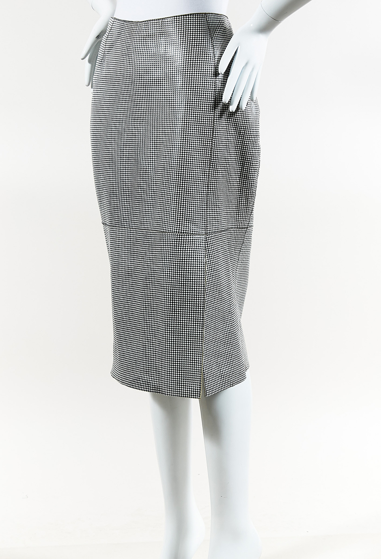 Black White Leather Houndstooth Pencil Skirt