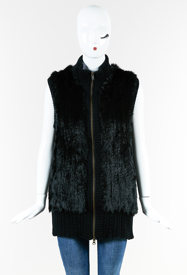 "Black Cashmere Wool Rabbit Fur Zipped ""Dullahan"" Vest"