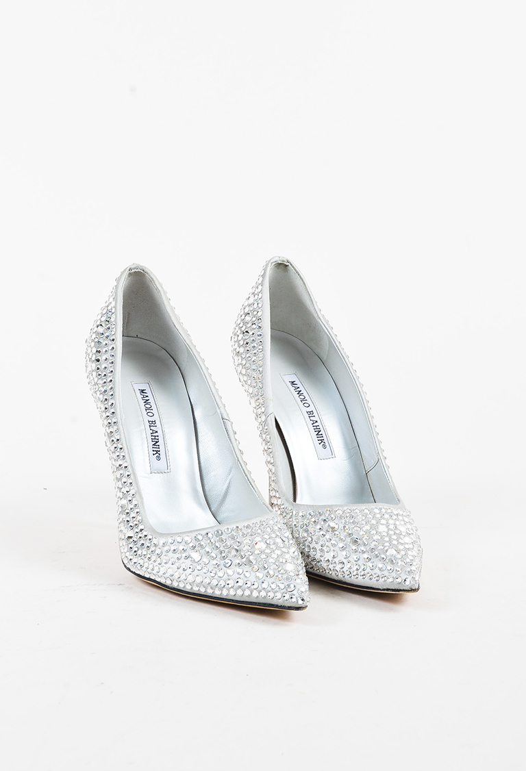 """Silver Satin Pointy Toe """"BB Crystal"""" Embellished Pumps"""