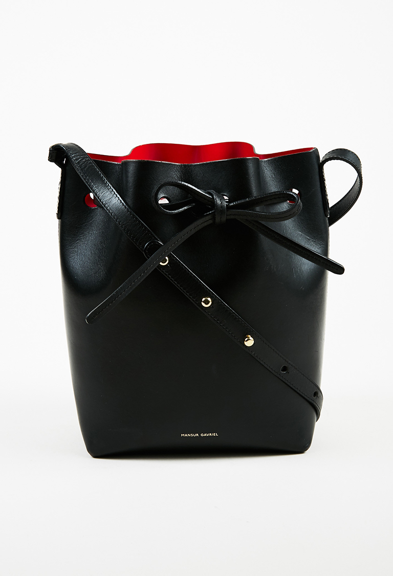 "Black ""Flamma"" Red Vegetable Tanned Leather Mini Bucket Bag"
