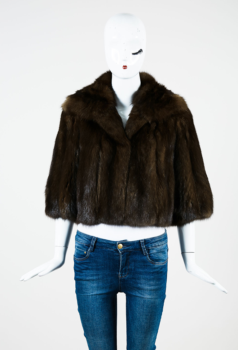 Brown Russian Sable Fur Cropped Sleeve Jacket