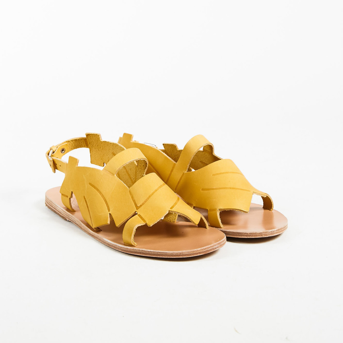 c1aed626e6a62 Details about Ancient Greek Sandals x Carven NWT Yellow Leather