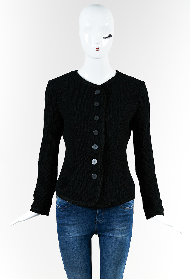 Black Cotton Blend Buttoned Collarless Jacket