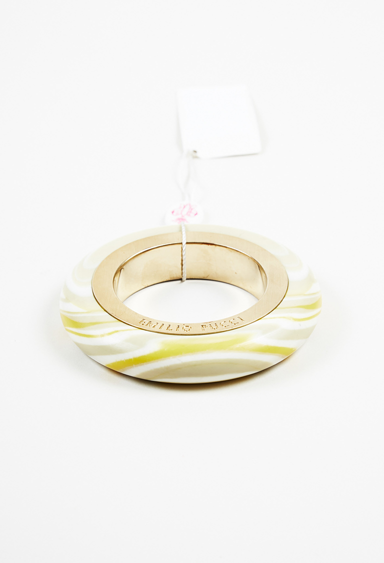 Marble Effect Bangle Gold Tone Acrylic Bracelet
