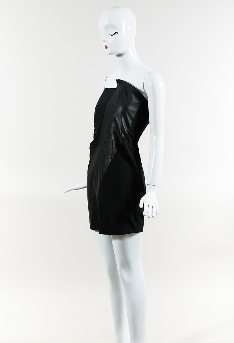 Black Silk Blend & Leather Paneled Strapless Mini Dress