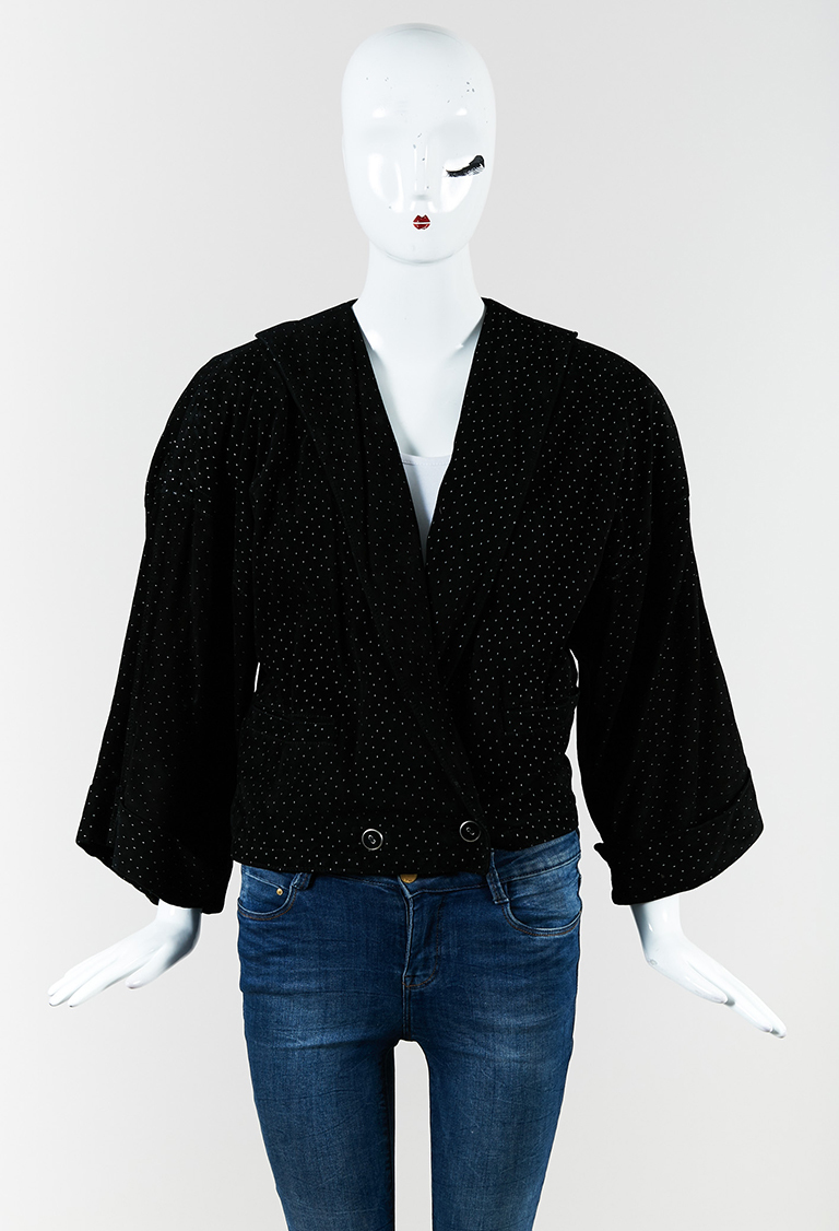 Gianni  Black Suede Print Double Breasted Jacket