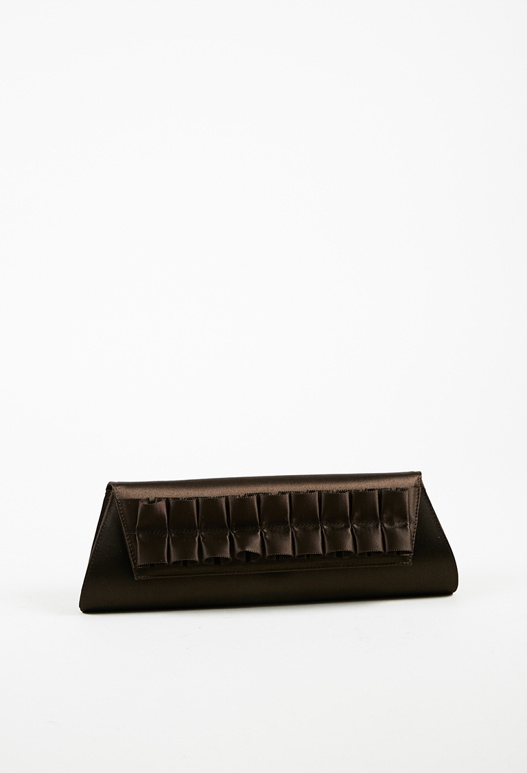 Brown Satin Ruffled Front Flap Evening Clutch