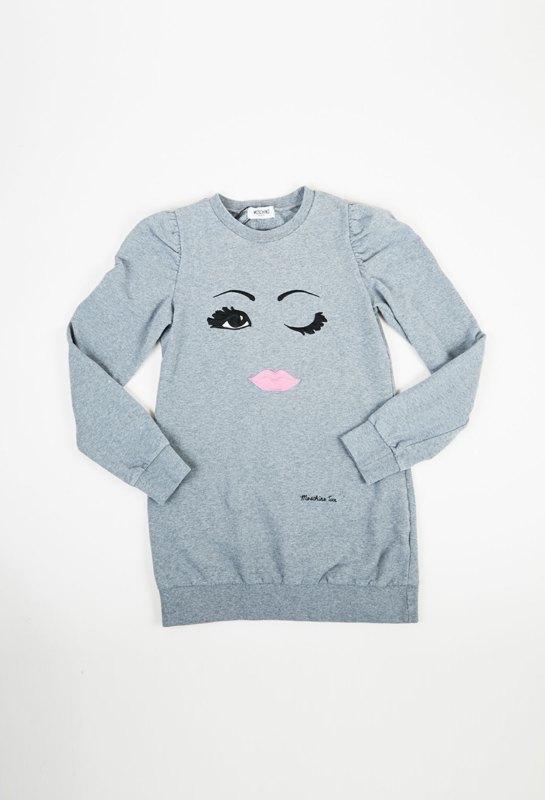 Teen Gray Cotton Blend Knit Face Embroidered Long Sleeve Sweatshirt