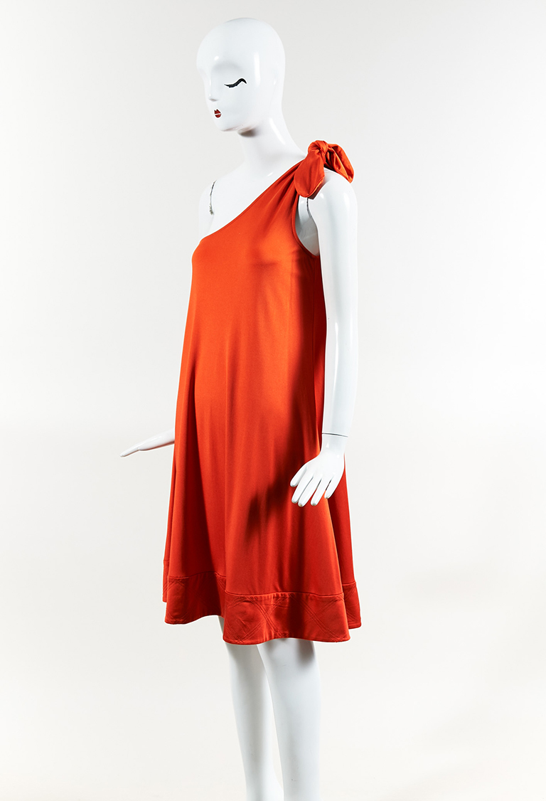 Red Silk Blend Knit One Shoulder Dress