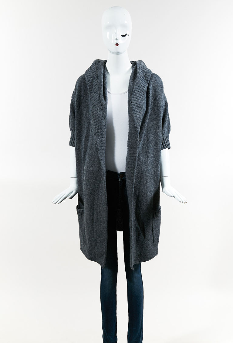 Gray Cashmere Blend Short Sleeve Hooded Long Open Cardigan