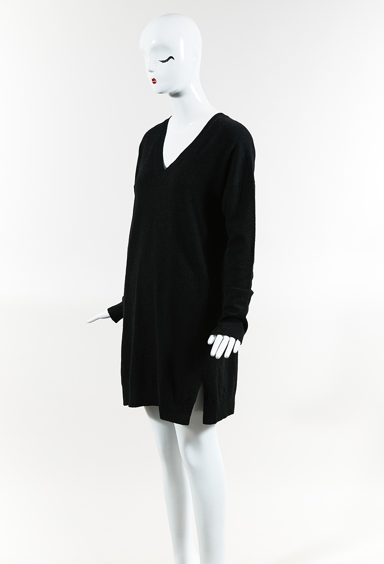 Black Cashmere & Wool Long Sleeve V Neck Sweater Dress