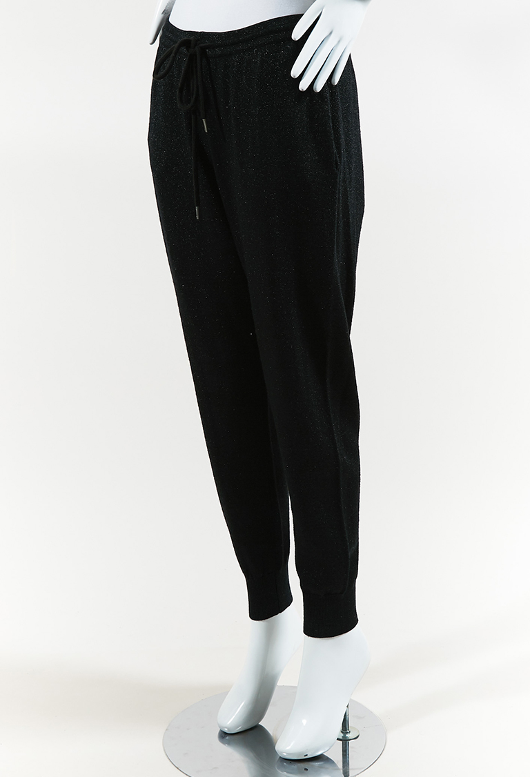 Metallic Black Wool Blend Knit Drawstring Jogger Pants