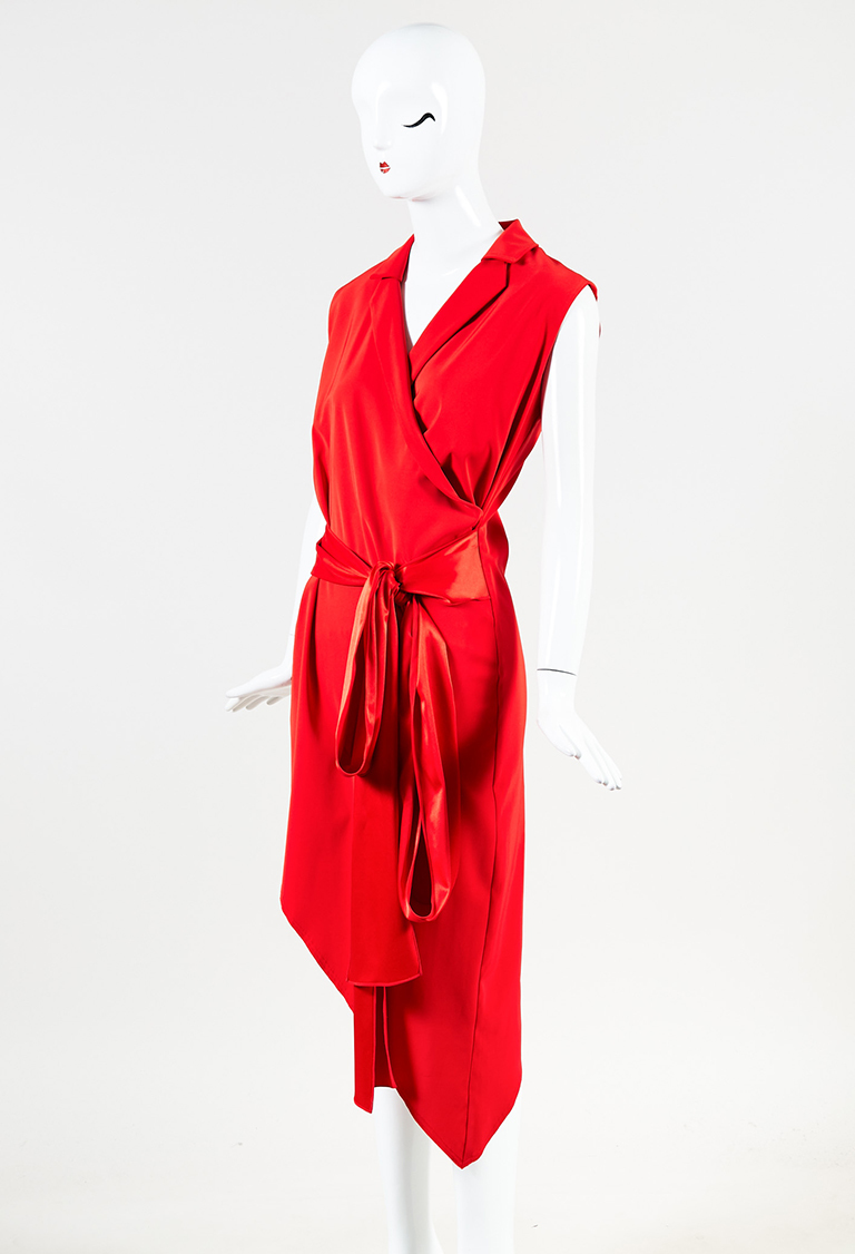 """Red Collared Belted Sleeveless """"Tuxedo"""" Wrap Dress"""