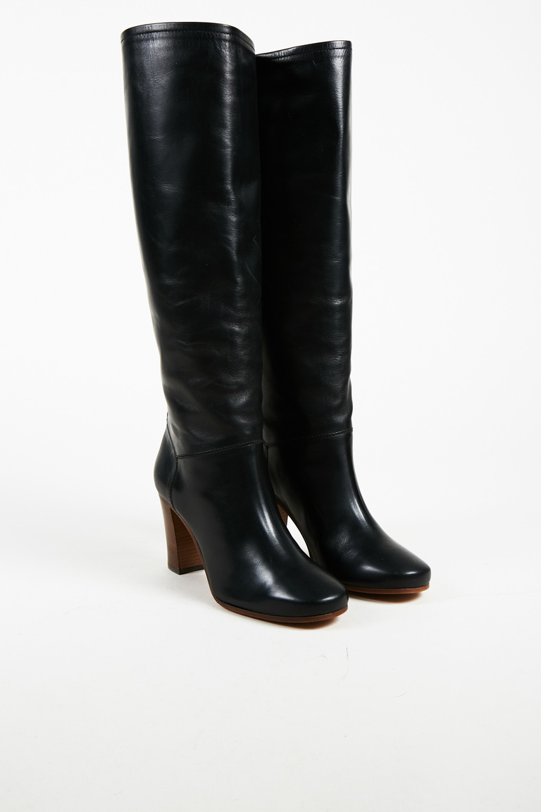"""Black Leather Knee High """"Heritage"""" Boots"""