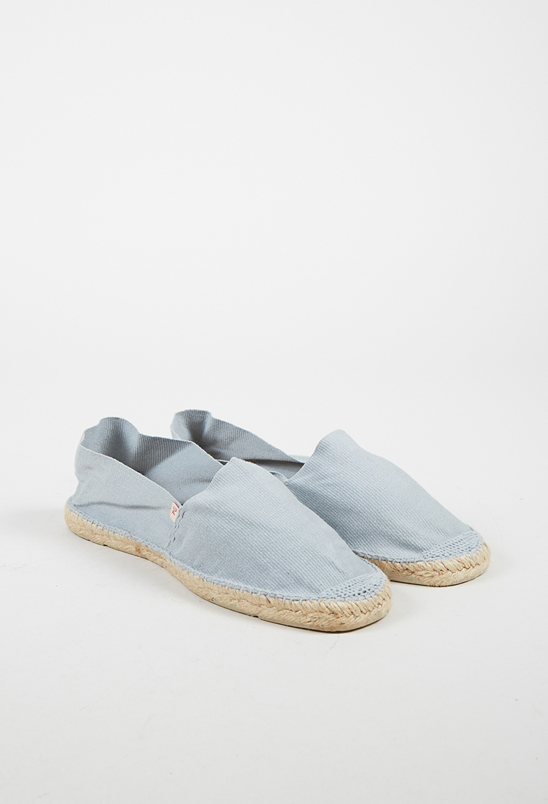 Blue Gray Canvas Slip On Espadrilles