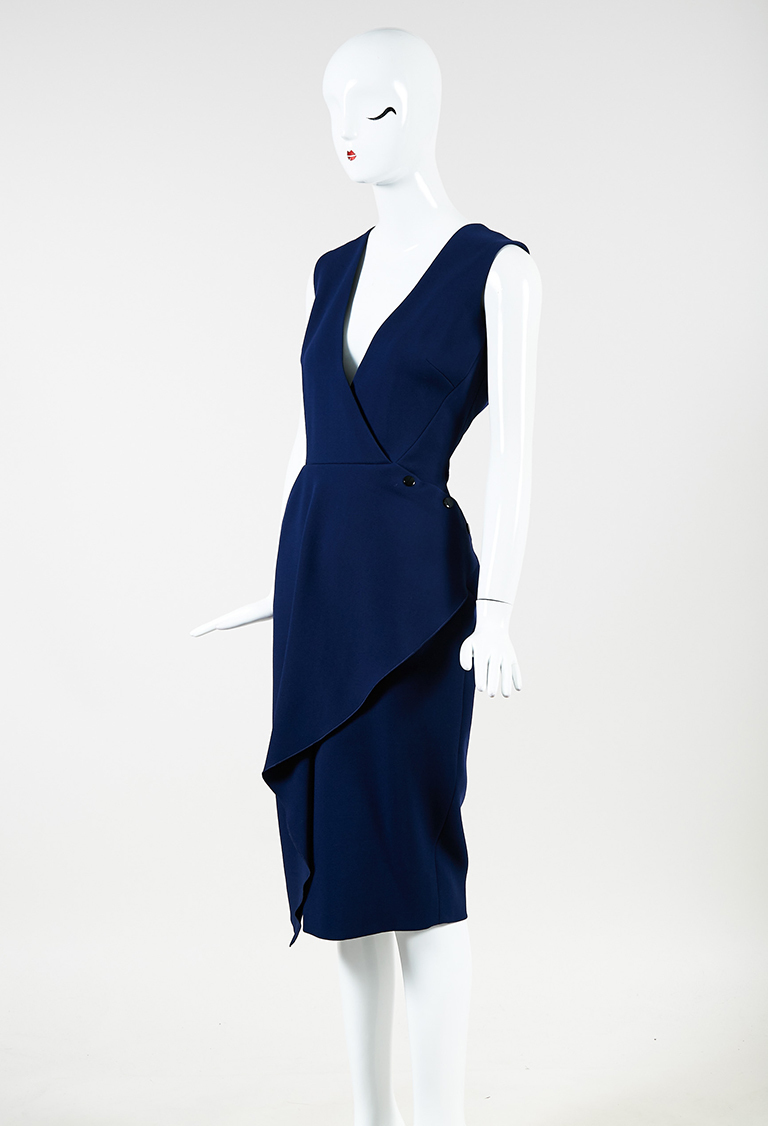 Blue Wool Blend V Neck Sleeveless Sheath Dress