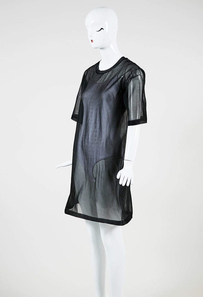 "Collection Black Mesh Short Sleeve ""Wilson"" Dress"