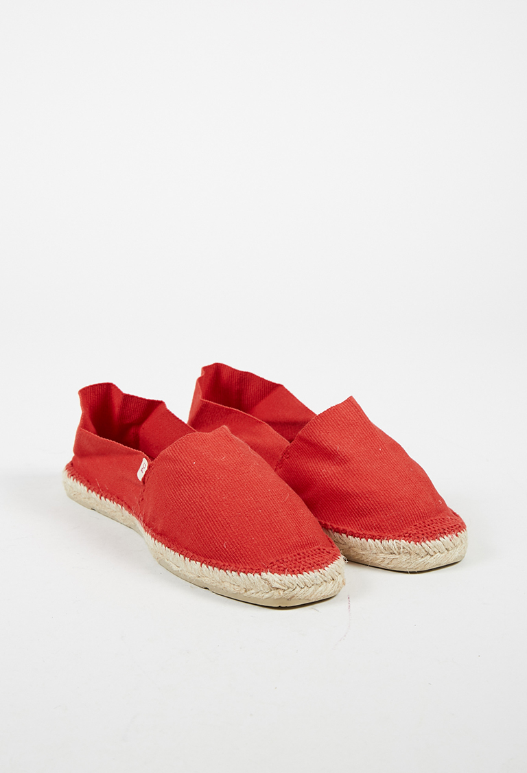 Red Canvas Slip On Espadrille Flats