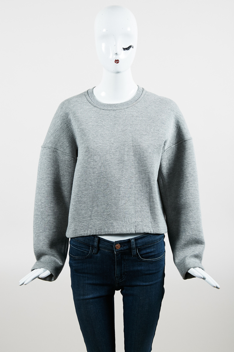 T by  Gray Knit Cropped Long Sleeve Sweatshirt