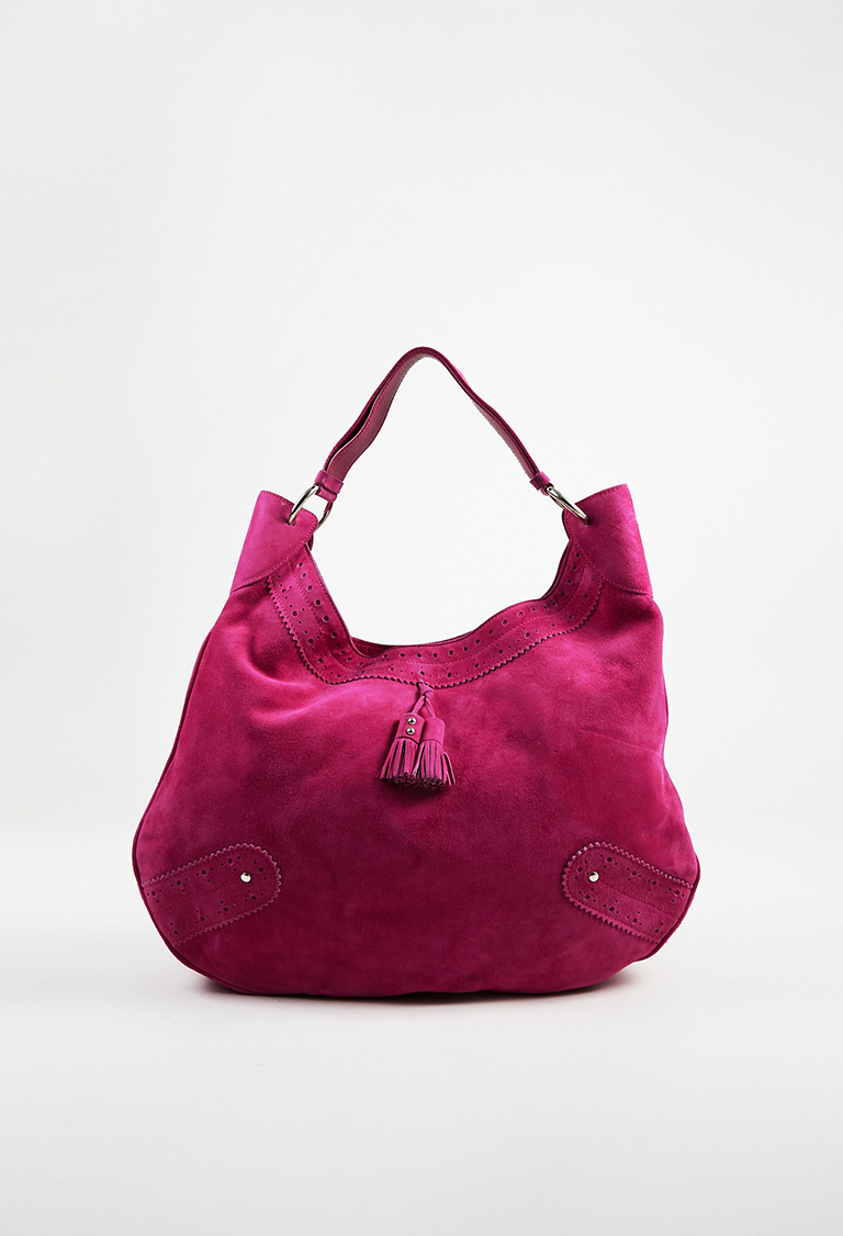 """London Pink Suede """"Baroque Accented Hobo"""" Bag"""