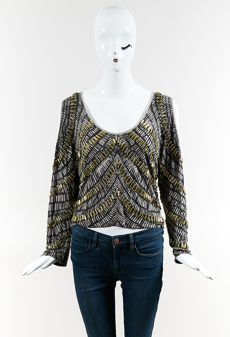 Gray Print Gold Embellished Open Shoulder Long Sleeve Cropped Top