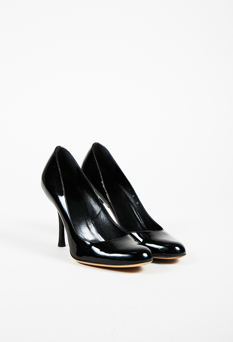 "Black ""Vernice"" Patent Leather Round Toe High Heel Pumps"