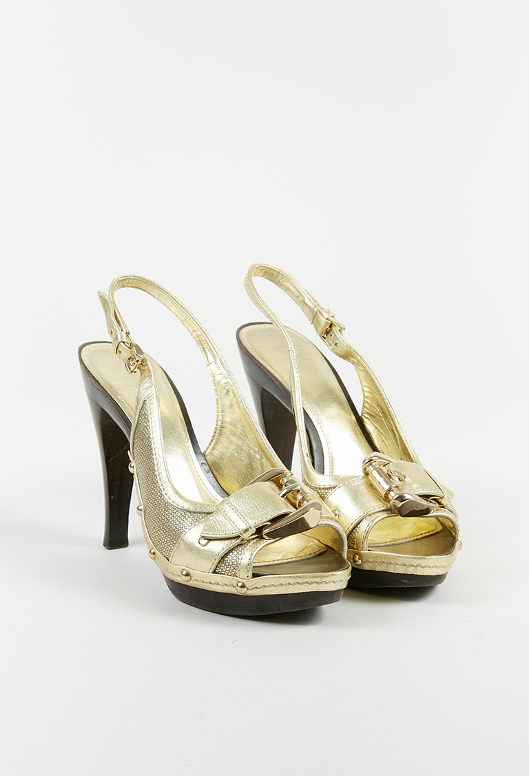 Metallic Gold Leather Peep Toe Platform Slingback Sandals