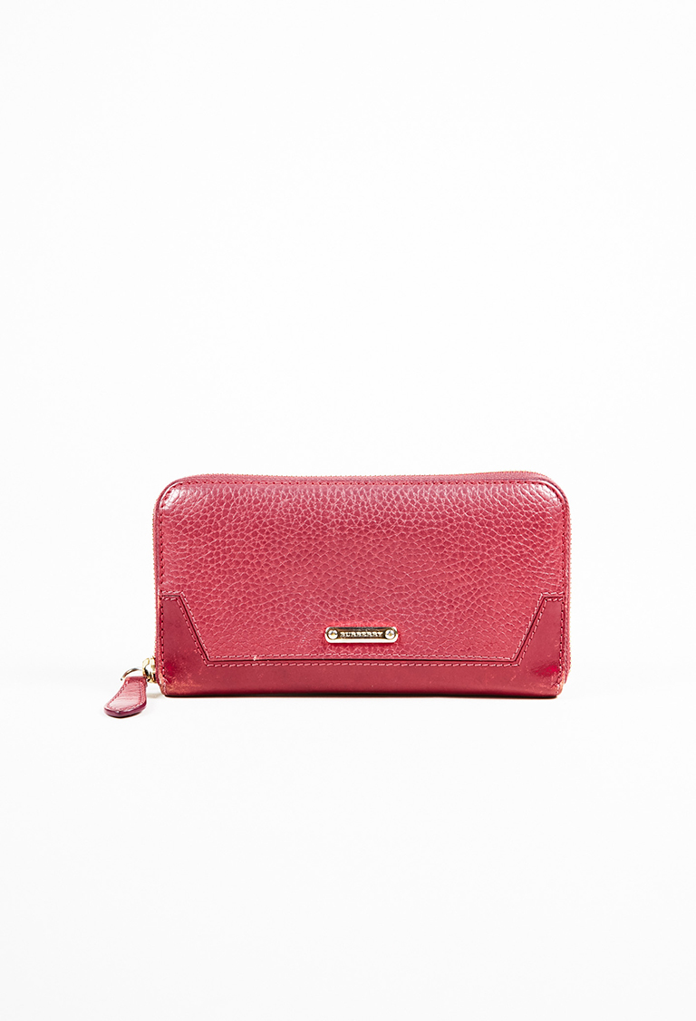 Pink Pebbled Leather Gold Tone Wraparound Zip Wallet
