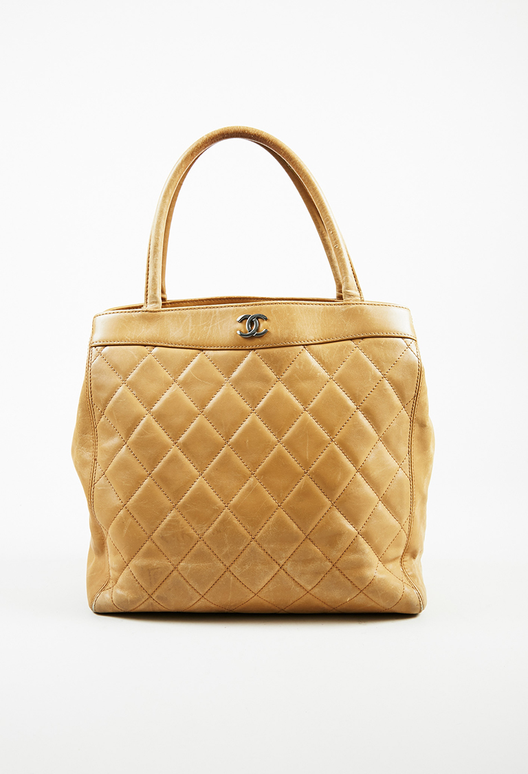 Beige Quilted Calfskin Leather Silver Tone 'CC' Tote Bag