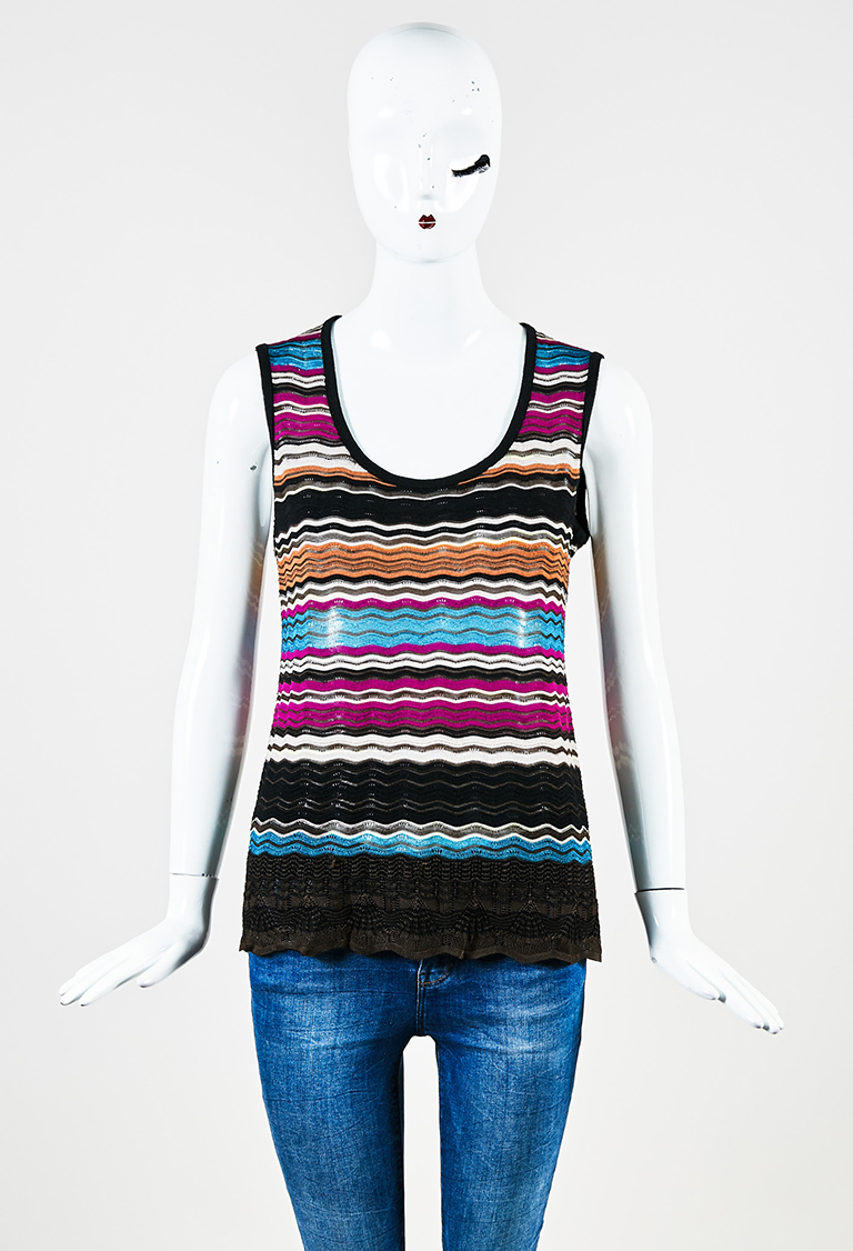 Black Multicolor Knit Sleeveless Striped Top