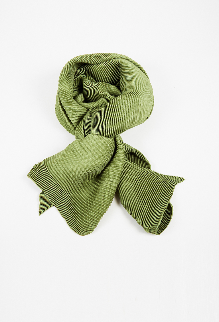 Green Cashmere Silk Pleated Scarf