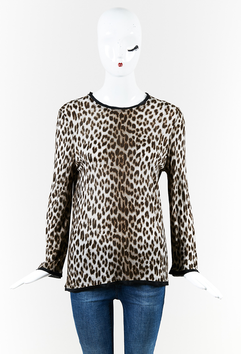 Cheetah Print Knit Gray Long Sleeve Top