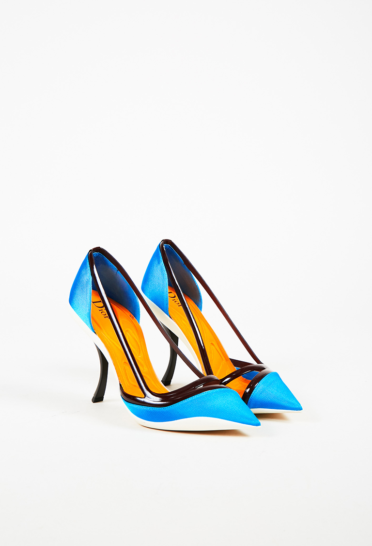Dior Multicolor Textile & Patent Leather Pointed Toe Pumps
