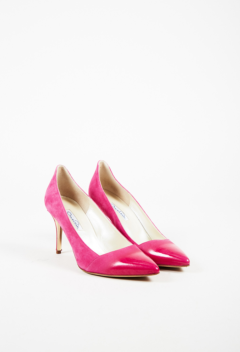 Pink Suede Gold Tone Pointed Toe Pumps