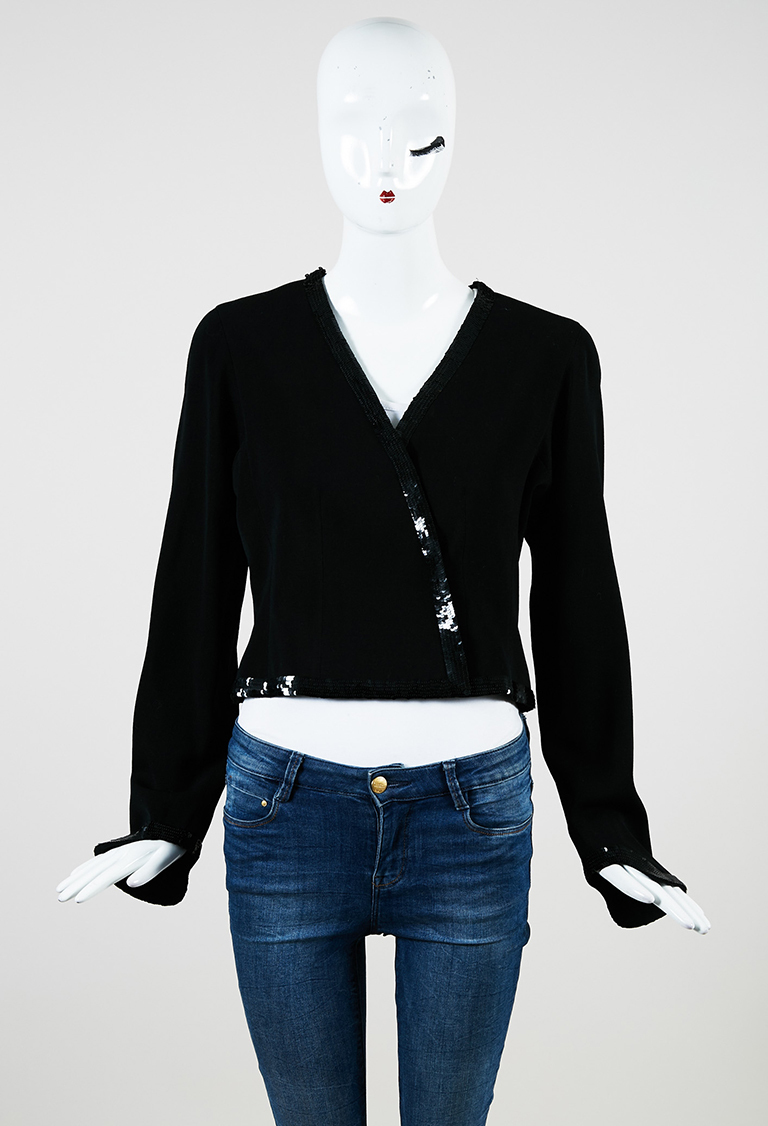 Black Sequined Cropped Structured Asymmetric Jacket
