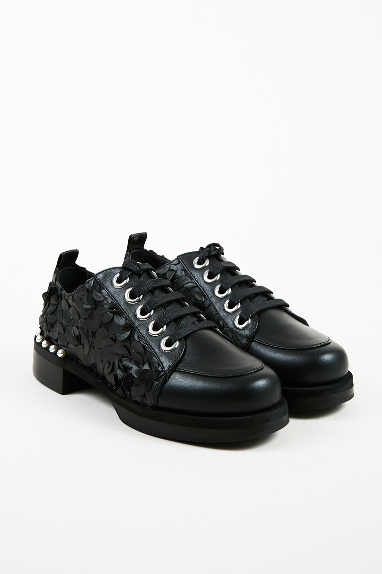 Black Leather Faux Pearl Embellished Lace Up Campari Oxfords