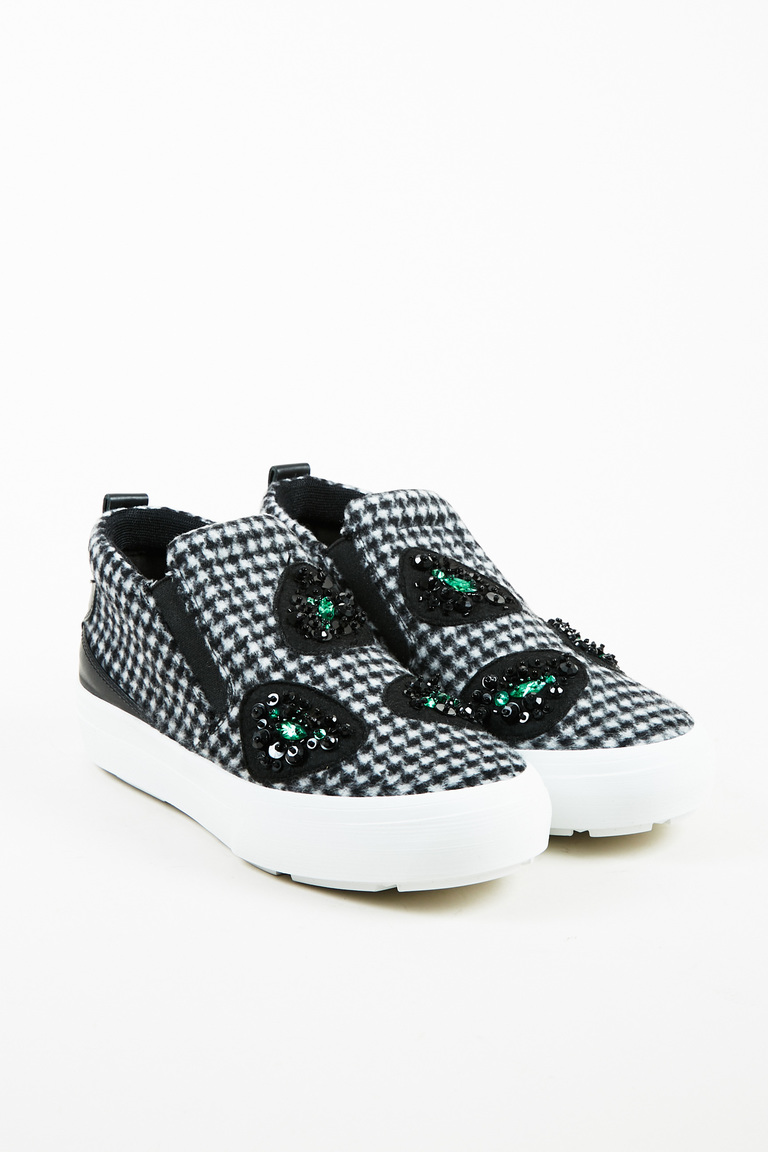 Black White & Green Felt & Leather Embellished Slip On Sneakers
