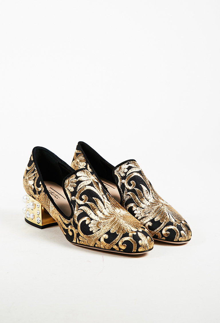 Black & Metallic Gold Brocade Faux Pearl Embellished Loafers